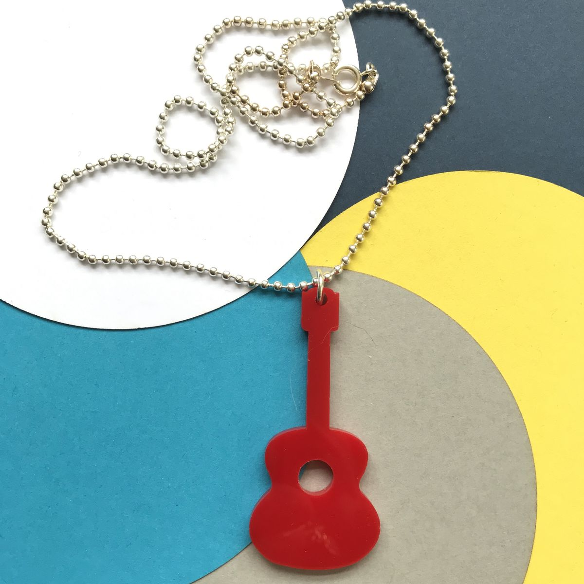 Guitar Pendant in Fluorescent green or plain red Acrylic or Green FREEPOST UK - product images  of