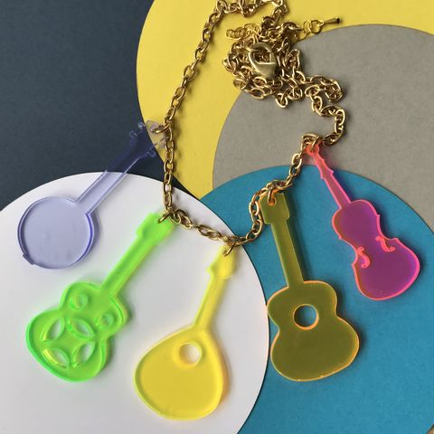 Country,Music,Neon,Acrylic,Statement,Necklace,(5,instruments),FREEPOST,UK,Jewelry,acrylic,pendant,summer,Americana,coloured,multicoloured,silver_plated