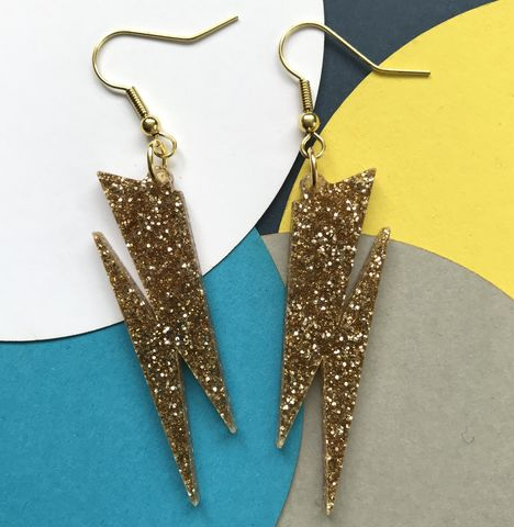 Gold,glitter,Lightning,Bolt,earrings,FREEPOST,UK, earrings, power, lightning, bolt,gold-earrings,hook-earrings