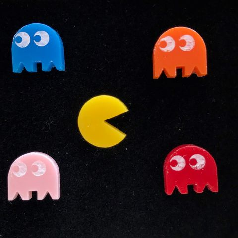 PAC-MAN,set,of,five,stud,earrings,UK,FREEPOST,PAC-MAN inky pinky binky clyde retro_game eighties