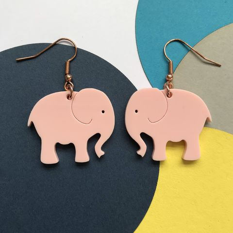 Pink,elephant,statement,earrings,FREEPOST,UK,pink elephant earrings, pink earrings, elephant jewellery, pink hook earrings,
