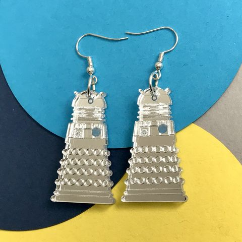 Mirror,Dalek,Hook,Earrings,Dalek earrings, Dalek hooks, mirror hook earrings, Dr Who, acrylic earrings, sci-fi earrings