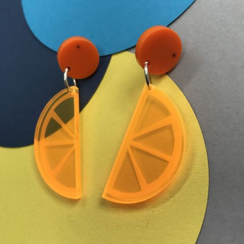 Orange,Drop,Stud,Acrylic,Earrings,FREEPOST,UK,Orange_drop_studs, orange_earrings, citrus_earrings, orange_slice_earrings