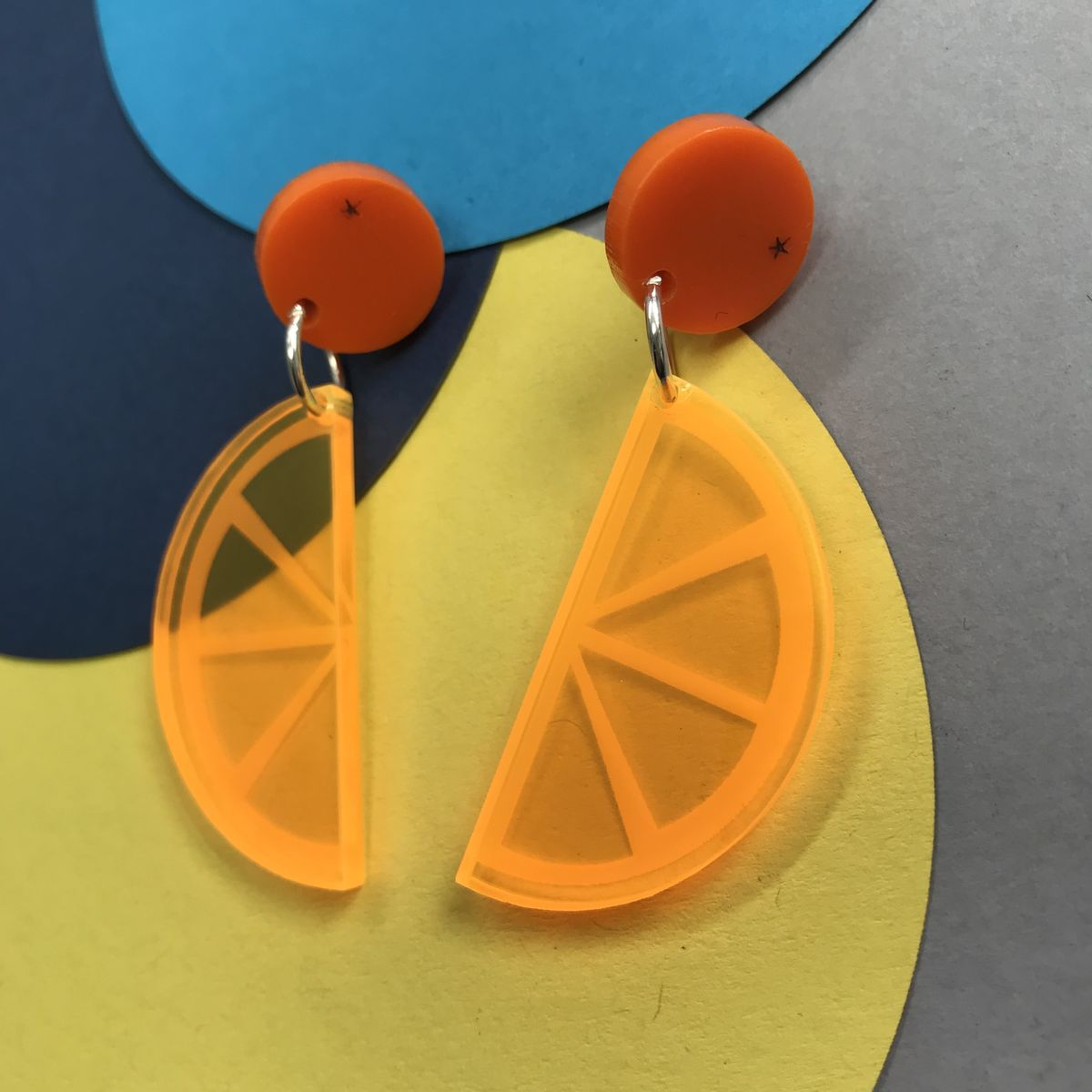 Orange Drop Stud Acrylic Earrings FREEPOST UK - product images  of
