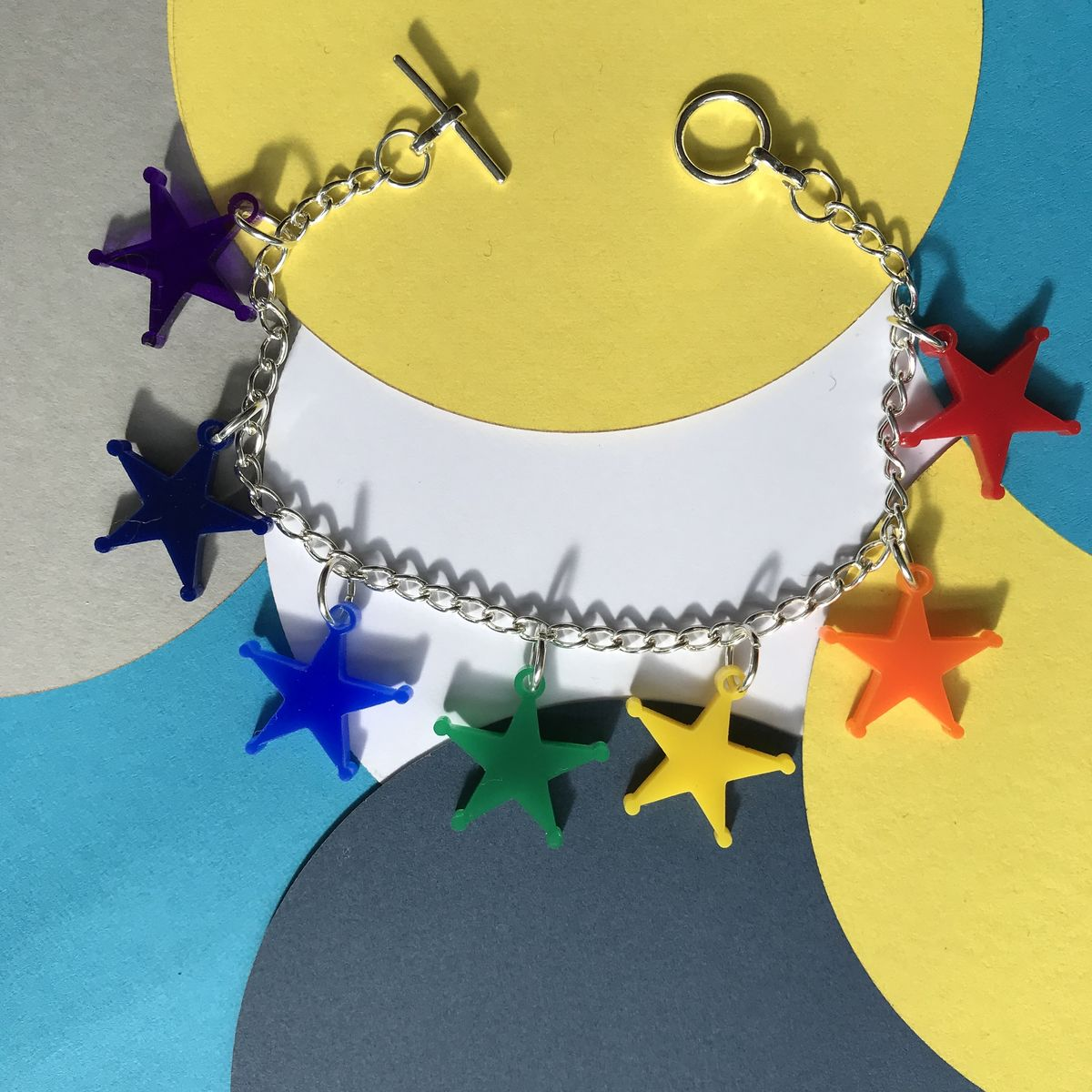 Rainbow Stars Charm Bracelet multicoloured FREEPOST UK - product images  of