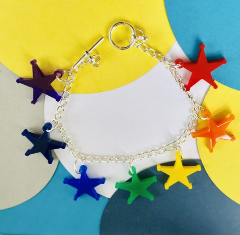 Rainbow,Stars,Charm,Bracelet,multicoloured,FREEPOST,UK,Rainbow star  bracelet, multicolour bracelet, laser cut jewellery, seven stars