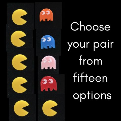 PAC-MAN,pair,of,stud,earrings,UK,FREEPOST,PAC-MAN inky pinky binky clyde retro_game eighties