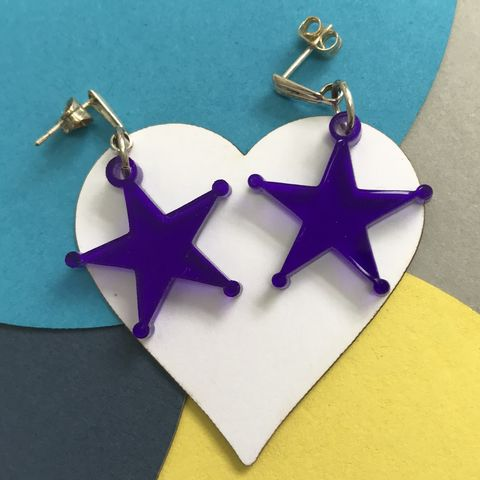 Purple,Star,Acrylic,Hooks,FREEPOST,UK,Jewelry, purple_star_earrings, Prince_earrings,Dark_Star