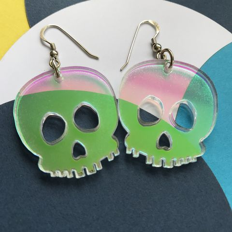 Iridescent,skull,earrings,FREEPOST,UK,Iridescent earrings, skull earrings, spooky, ghostly, dia des muertos