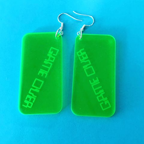 Game,Over,Statement,Neon,Green,Acrylic,Hooks,Retro earrings, neon green, computer font, game over, hook earrings, festival earrings, statement