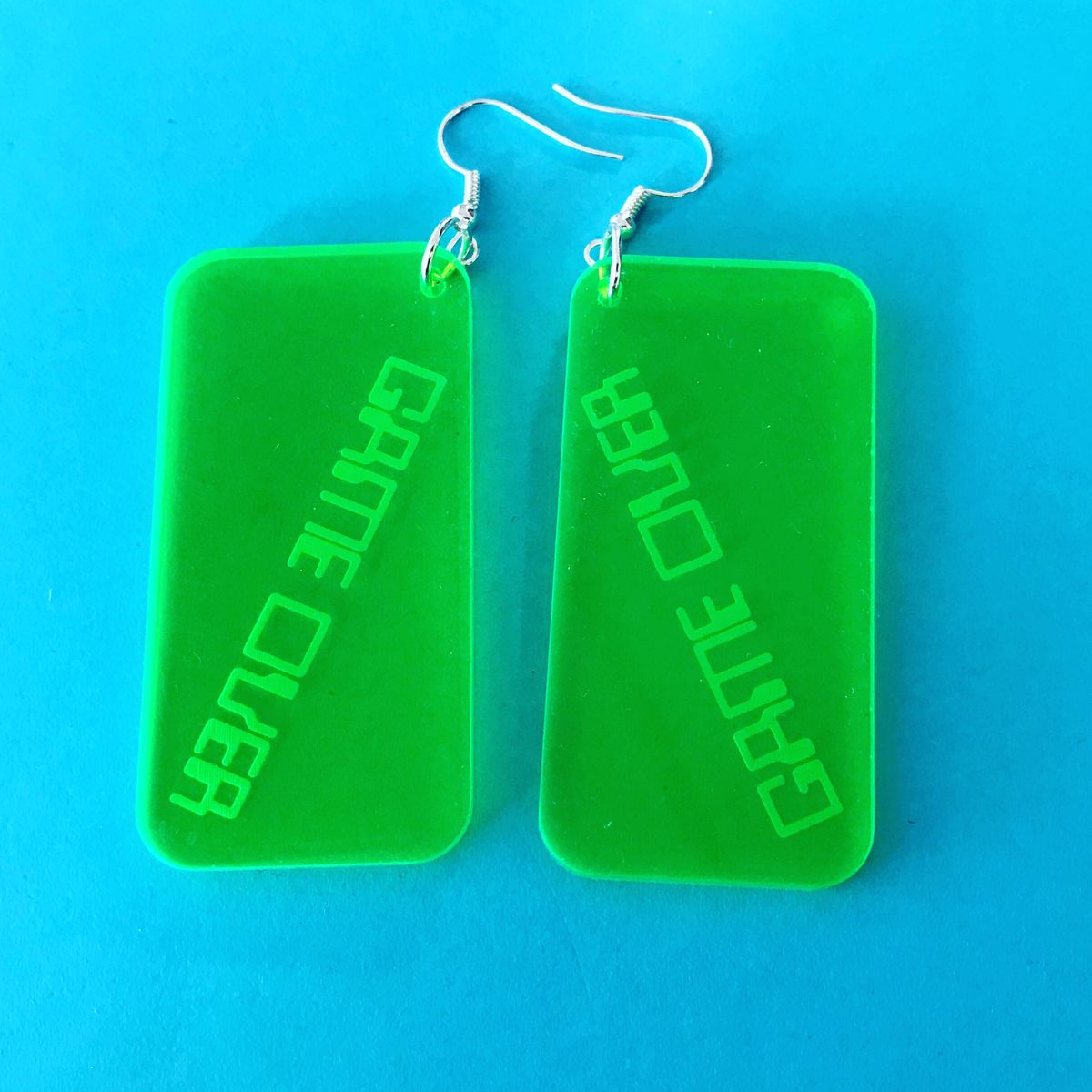 Game Over Statement Neon Green Acrylic Hooks - product image
