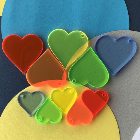 Mixed,Neon,Heart,Charm,Pack,of,10,for,Jewellery,Making,Neon charms, neon hearts,  craft hearts, heart charms