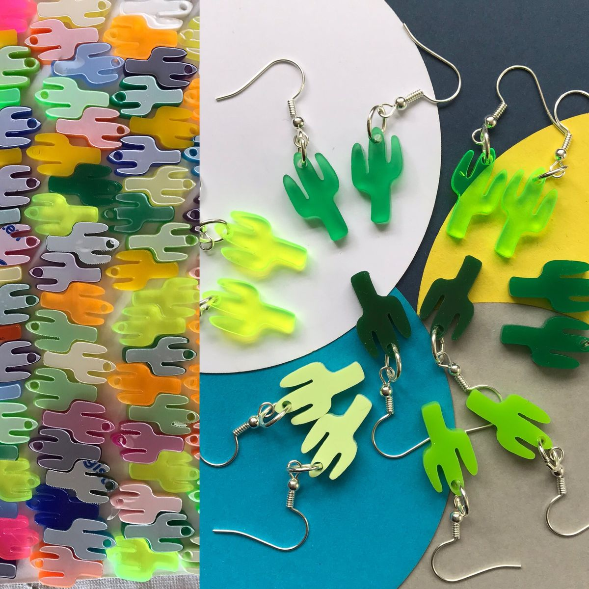 20 acrylic cactus charms for jewellery making - product images  of