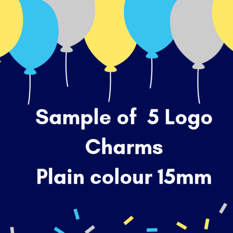 Sample,Pack,of,five,15mm,round,Logo,Charms,custom laser cutting service, logo charms, engraving, acrylic