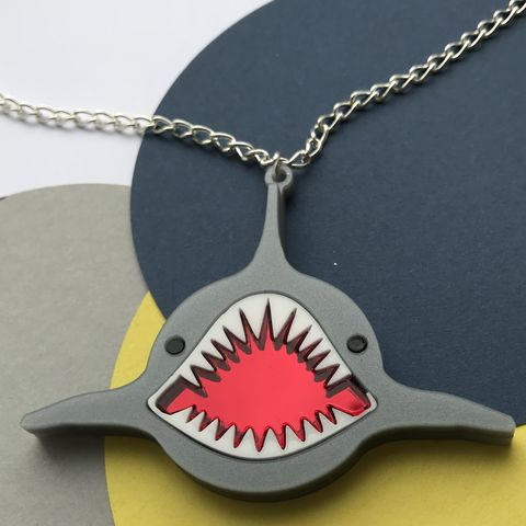 Grey,Shark,Necklace,in,pearlescent,acrylic,with,mirror,mouth,Grey shark necklace, acrylic shark necklace, statement necklace, statement shark necklace,