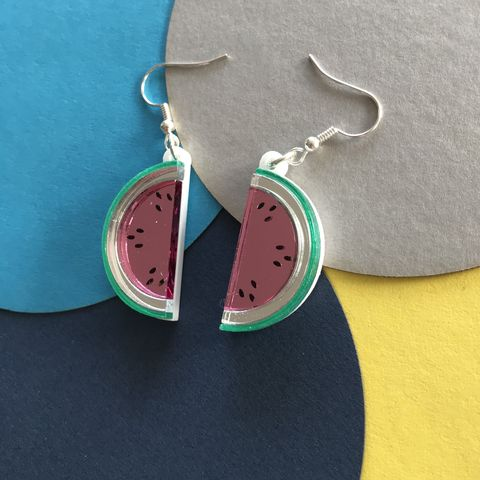 Mirrored,Acrylic,Watermelon,Earrings,Mirrored acrylic watermelon earrings, watermelon earrings, mirrored earrings,
