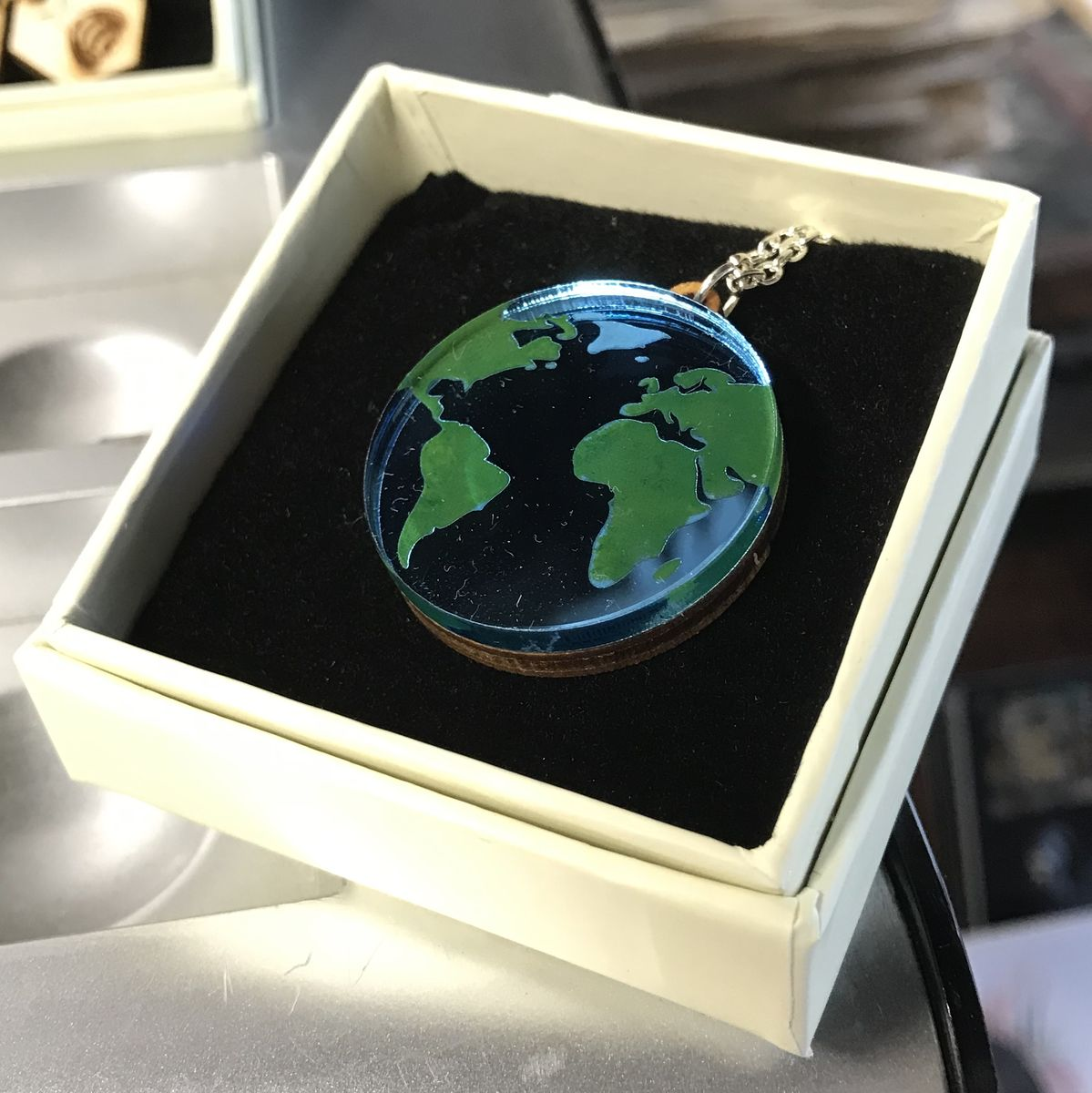 Blue Planet Earth pendant. Acrylic and Wood. - product images  of