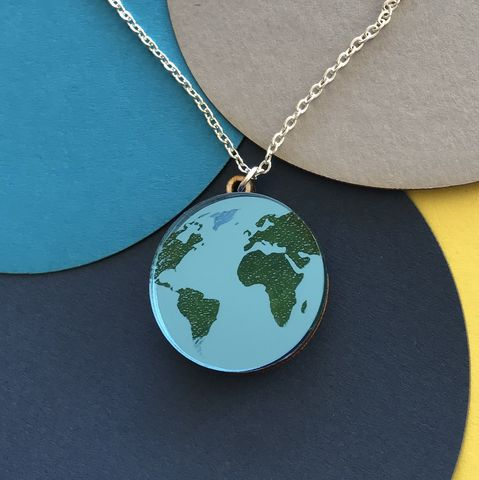 Blue,Planet,Earth,pendant.,Acrylic,and,Wood.,Blue planet Earth, Blue Mirror Earth, Love our planet, eco-warrior pendant,