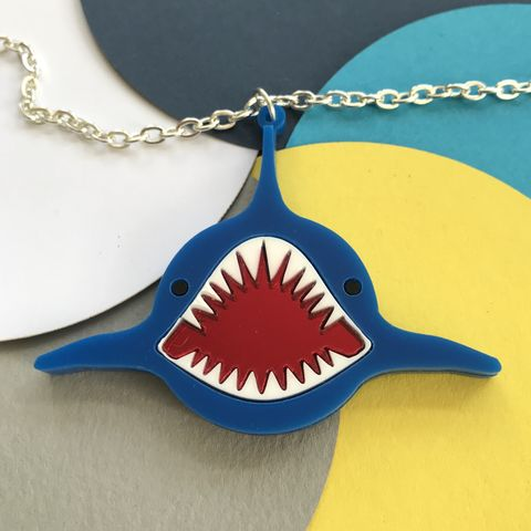 Blue,Shark,Perspex,Necklace,with,mirror,mouth,Blue shark necklace, acrylic shark necklace, statement necklace, statement shark necklace, Perspex necklace