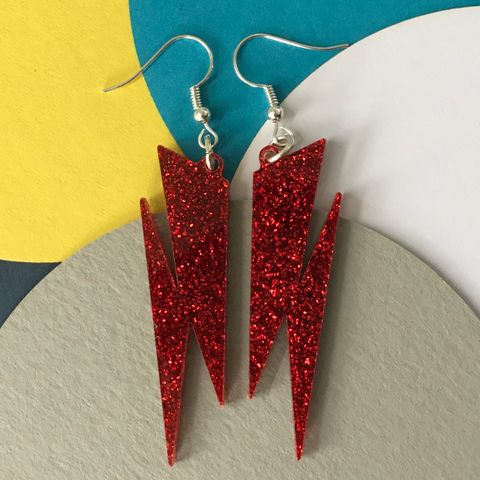 Ruby,Red,Glitter,Lightning,Earrings,FREEPOST,UK,Red  glitter earring, glam rock