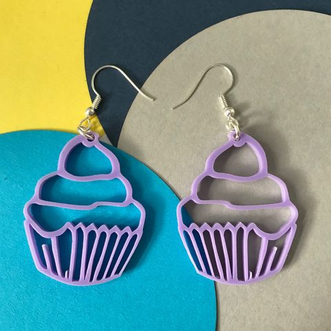 Cupcake,hook,earrings,Cupcake earrings, hook earrings, line art cupcakes, cupcake jewellery, sweetness and light, coffee morning