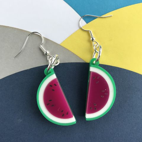 Watermelon,Earrings,Acrylic,FREEPOST,UK, acrylic watermelon earrings, watermelon earrings, mirrored earrings,