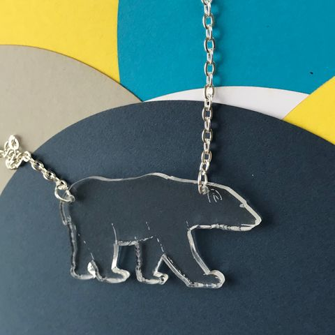 Polar,Bear,Necklace,FREEPOST,UK,Polar bear necklace, acrylic bear necklace, endangered animal, clear acrylic, acrylic necklace,