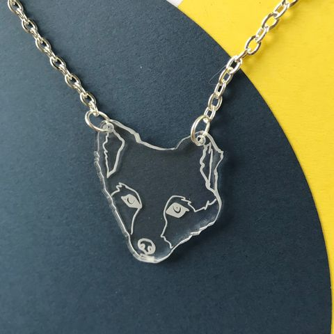 Arctic,Fox,Necklace,FREEPOST,UK,Arctic fox necklace, acrylic fox, endangered animal, clear acrylic, acrylic necklace,