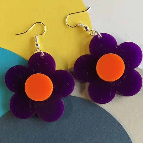 Purple,and,Orange,Buttercup,Earrings,orange and purple, buttercup, flower earrings, sixties jewellery, retro earrings, orange earrings, purple