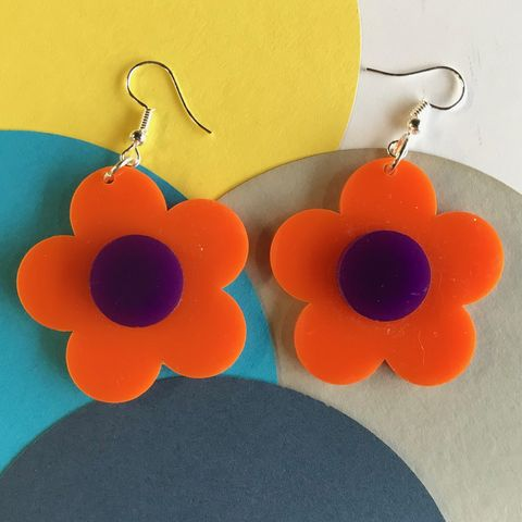 Orange,and,Purple,Buttercup,Earrings,orange and purple, buttercup, flower earrings, sixties jewellery, retro earrings, orange earrings, purple
