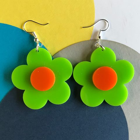 Green,and,Orange,Buttercup,Earrings,orange and green, buttercup, flower earrings, sixties jewellery, retro earrings, green earrings, orange
