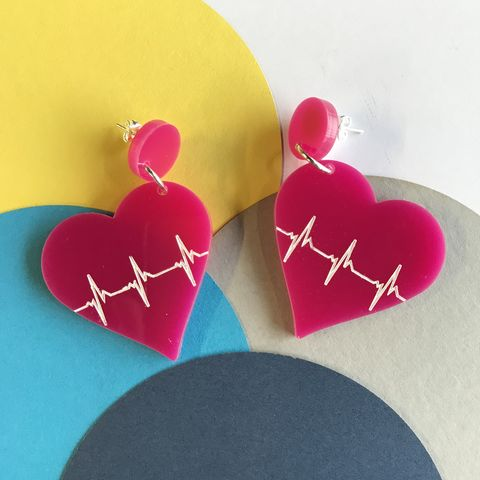 Cerise,Beating,Heart,statement,stud,earrings,Cerise earrings, beating heart earrings, statement earrings,