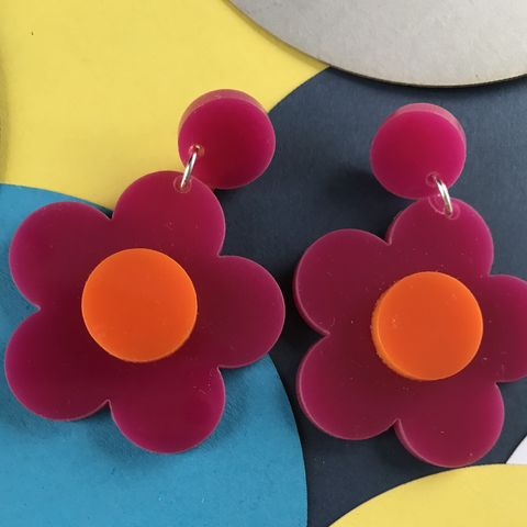 Cerise,and,Orange,Buttercup,Stud,Earrings,Cerise and orange, buttercup, stud earrings, pink and orange, flower earrings, sixties jewellery, retro earrings, green earrings, orange
