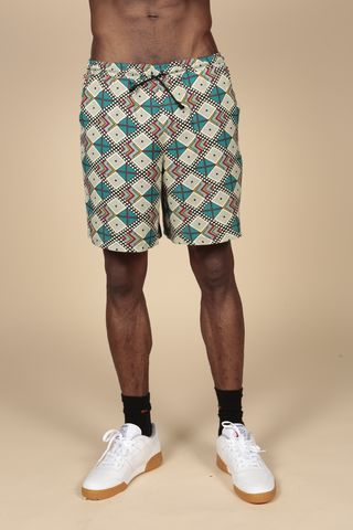 Blue,Diamond,Aztec,Shorts,Shirt, Printed Shirt, Diamond