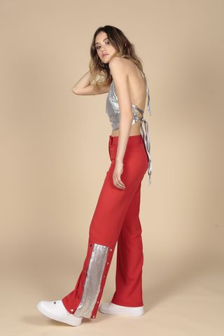 Red,Chain,Mail,Pants,Trousers, Red, Chainmail, Wide Leg Trousers, Wide Leg, Seventies, Nineties