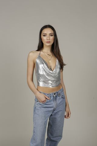Keira,Chainmail,Top, Chainmail, Silver, Party Top, Nineties, Vintage, 90s, Glomesh