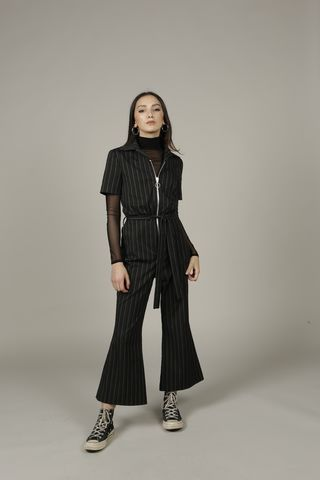 Bella,Jumpsuit, Pinstripe, Zip, Collar, Seventies, Nineties, Y2K, Playsuit
