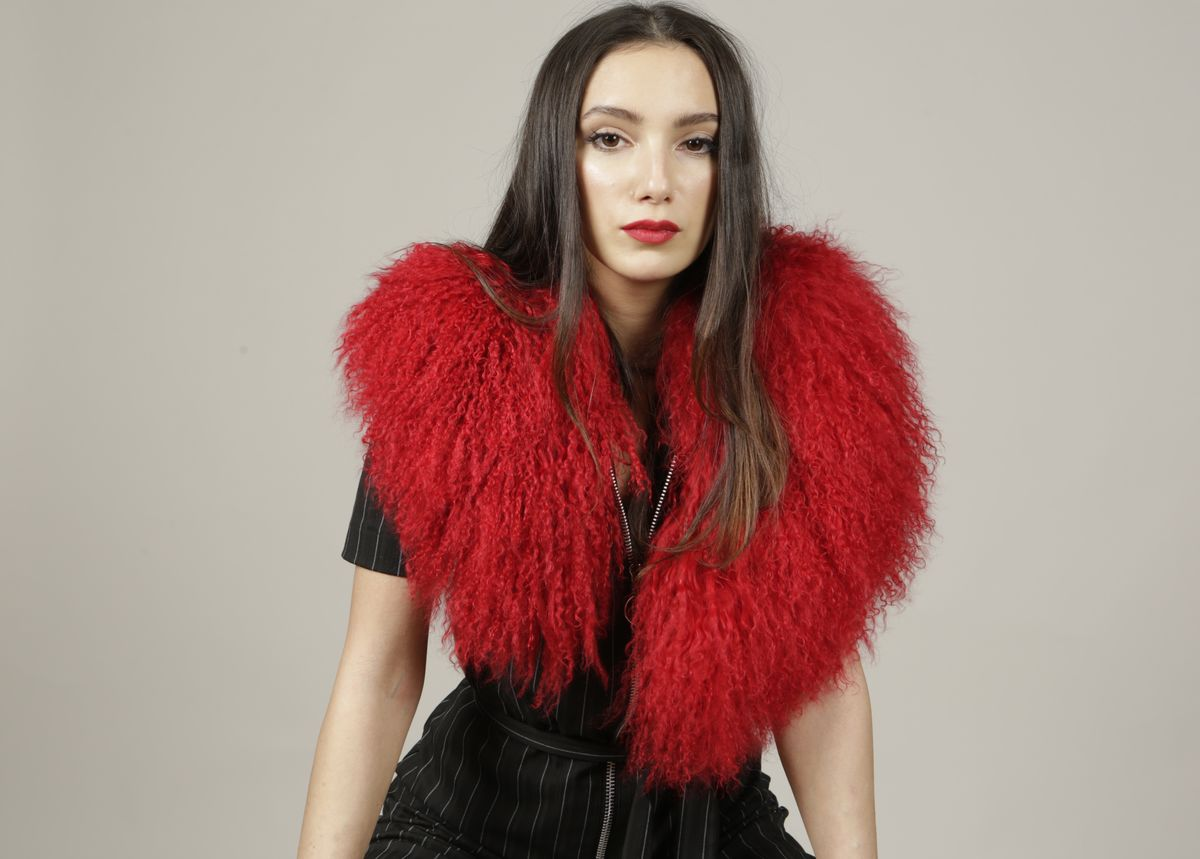 Red Mongolian Wool Collar - product images  of