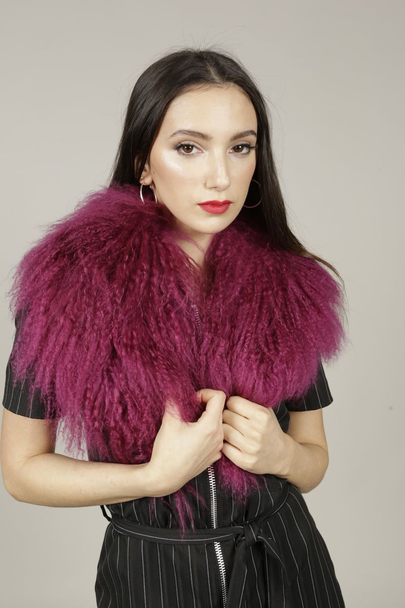 Magenta Mongolian Wool Collar - product images  of
