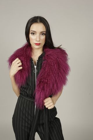Magenta,Mongolian,Wool,Collar, Mongolian, Fur, Scarf, Collar, Magenta, Winter, Festival, Accessories