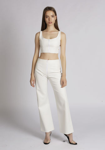 Gina,Leatherette,Pants,Leather, Leatherette, Mesh, White, Zip, Crop, Bralet, Top, Summer, Festival, Nineties, Y2K,