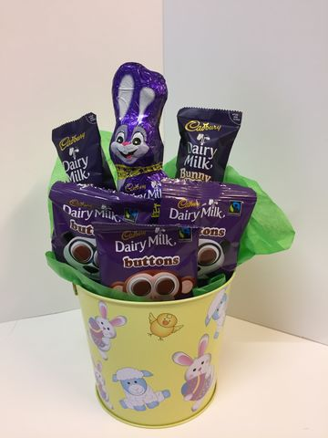Dairy,milk,child's,Easter,bucket,Dairy milk Easter bouquet, children's Easter gifts, Tonbridge Easter gifts, Easter gifts