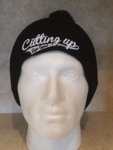 UNISEX,BLACK,RIBBED,CUFF,3D,LOGO,BOBBLE,HAT,WITH,POMPOM,Beanie,bobble