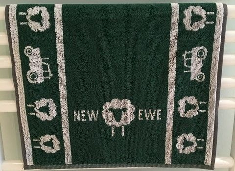 NEW,EWE,Hand,Towel,-,Green,hand towel, towel, face towel, hand, soap, wash, clean, tractor sheep, farmer, cotton