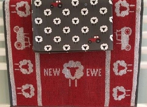 NEW,EWE,Hand,Towel,&,Tea,hand towel, tea towel, pure cotton, made in Britain