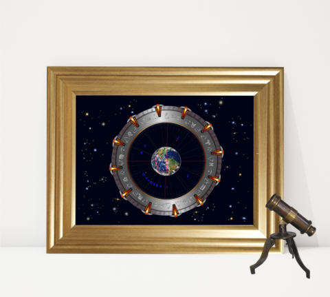 Stargate,Earth,Stargate chart, natal chart, astrology chart, astrological interpretation, zodiac signs, Astrology, Steampunk, horoscope, zodiac, sun sign, star sign, birth chart, personalised art, Astrology chart, Birth chart, Birth chart analysis, Zodiac g