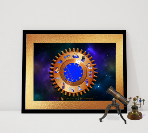 Starry,Skies,Astrology,Chart, natal chart, Steampunk, horoscope, zodiac, sun sign, star sign, birth chart, personalised art, Astrology chart, Birth chart, Birth chart analysis, Zodiac gift, horoscope chart, astrology art, steampunk gift, steampunk art