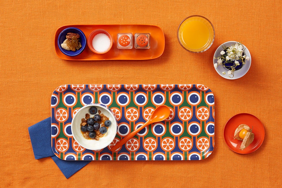 Blueberries oranges tray