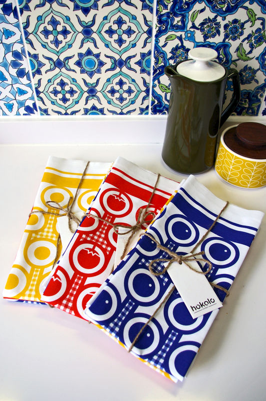 Cotton tea towel - blueberries pattern - product image