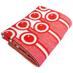 Woven Lambswool blanket - red currants pattern - product images 1 of 4
